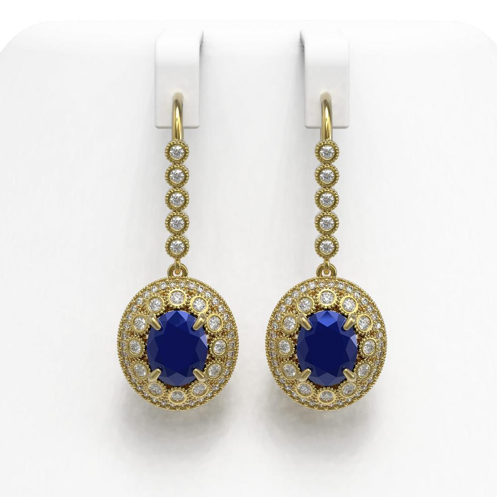 9.25 ctw Sapphire & Diamond Earrings 14K Yellow Gold - REF-243K5W - SKU:43609
