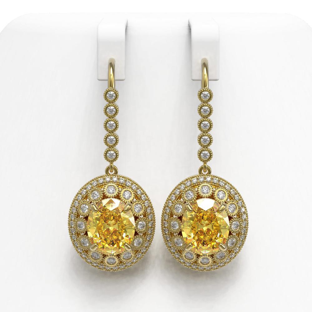 15.44 ctw Canary Citrine & Diamond Earrings 14K Yellow Gold - REF-306F2N - SKU:43780