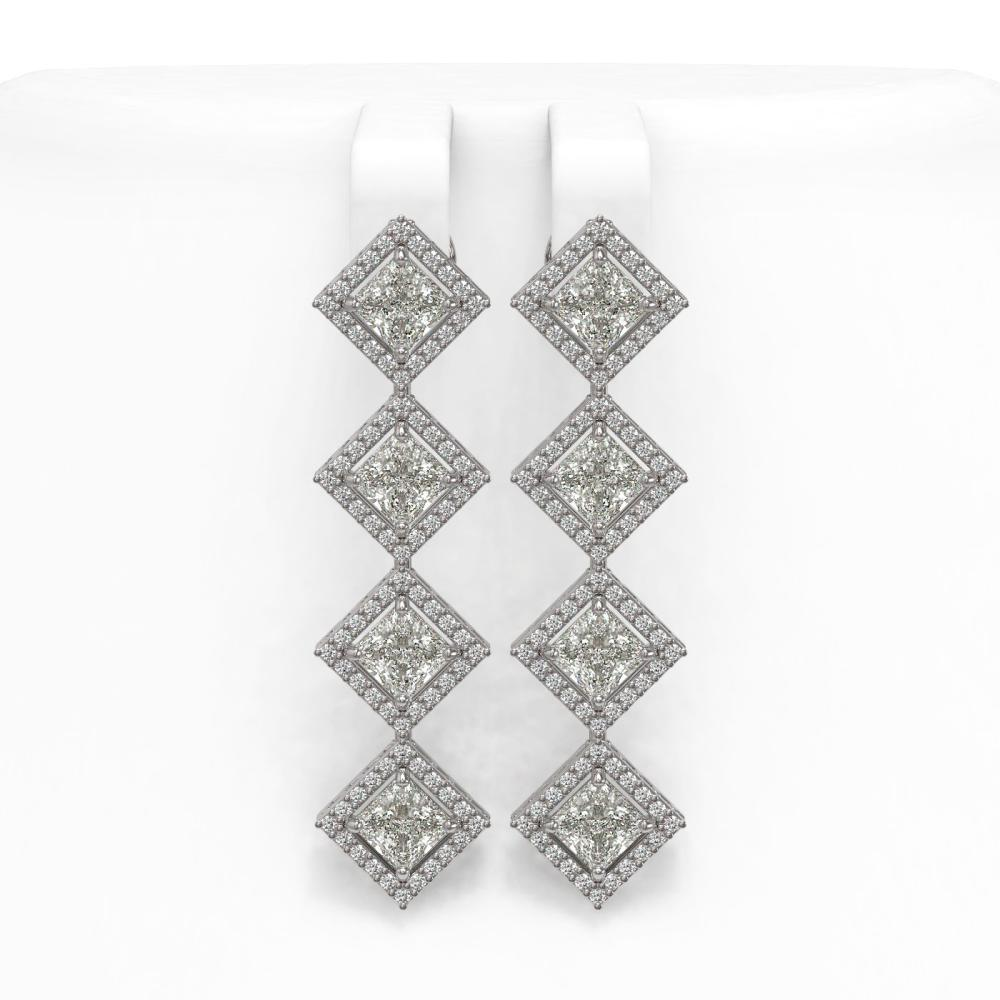 5.92 ctw Princess Diamond Earrings 18K White Gold - REF-821A2V - SKU:42854