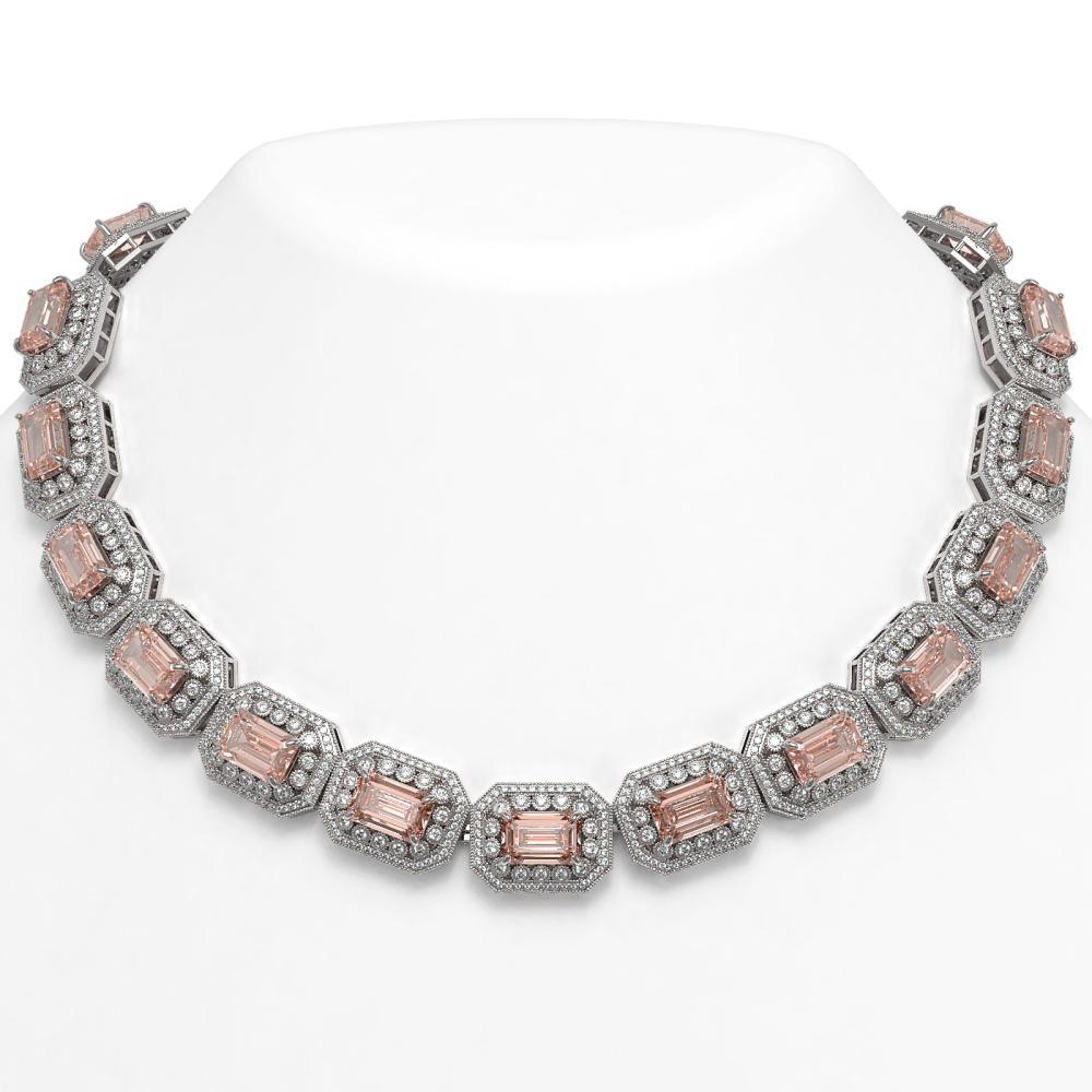 117.15 ctw Morganite & Diamond Necklace 14K White Gold - REF-4065Y3X - SKU:43481