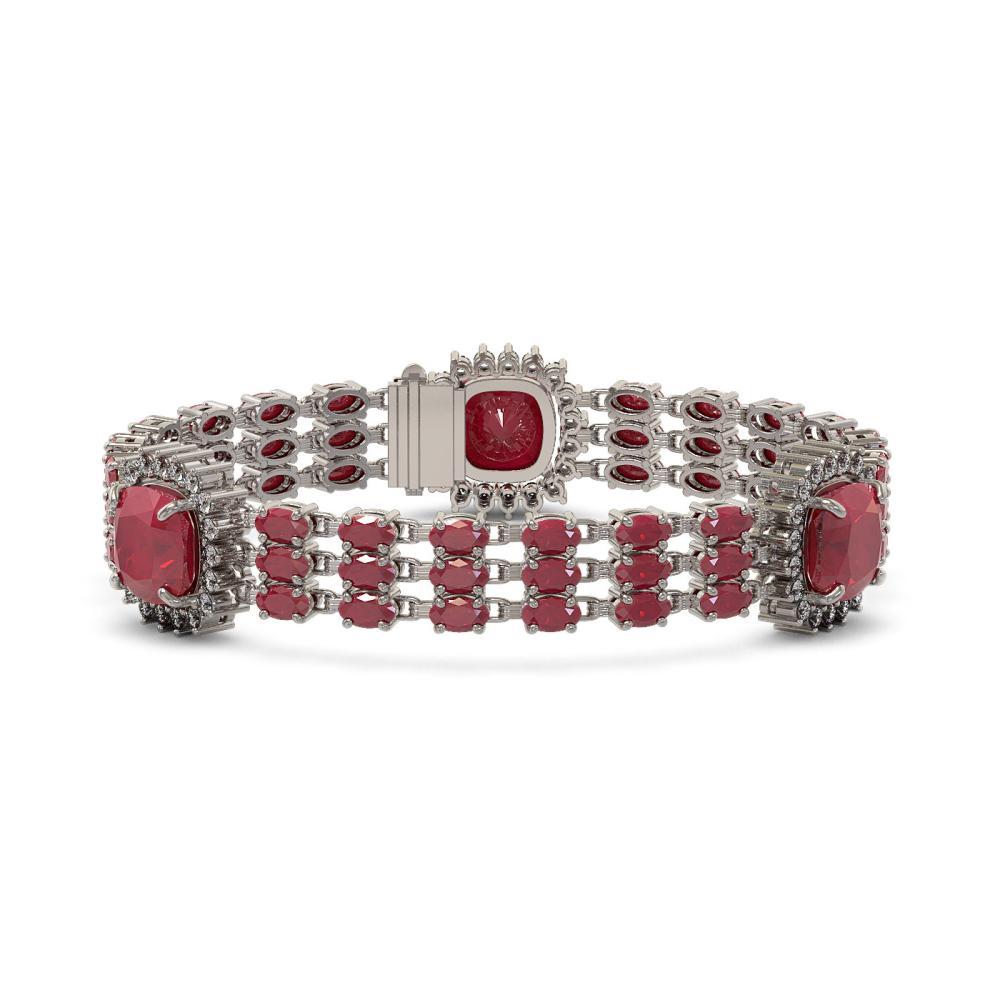 39.16 ctw Ruby & Diamond Bracelet 14K White Gold - REF-436W4H - SKU:45311