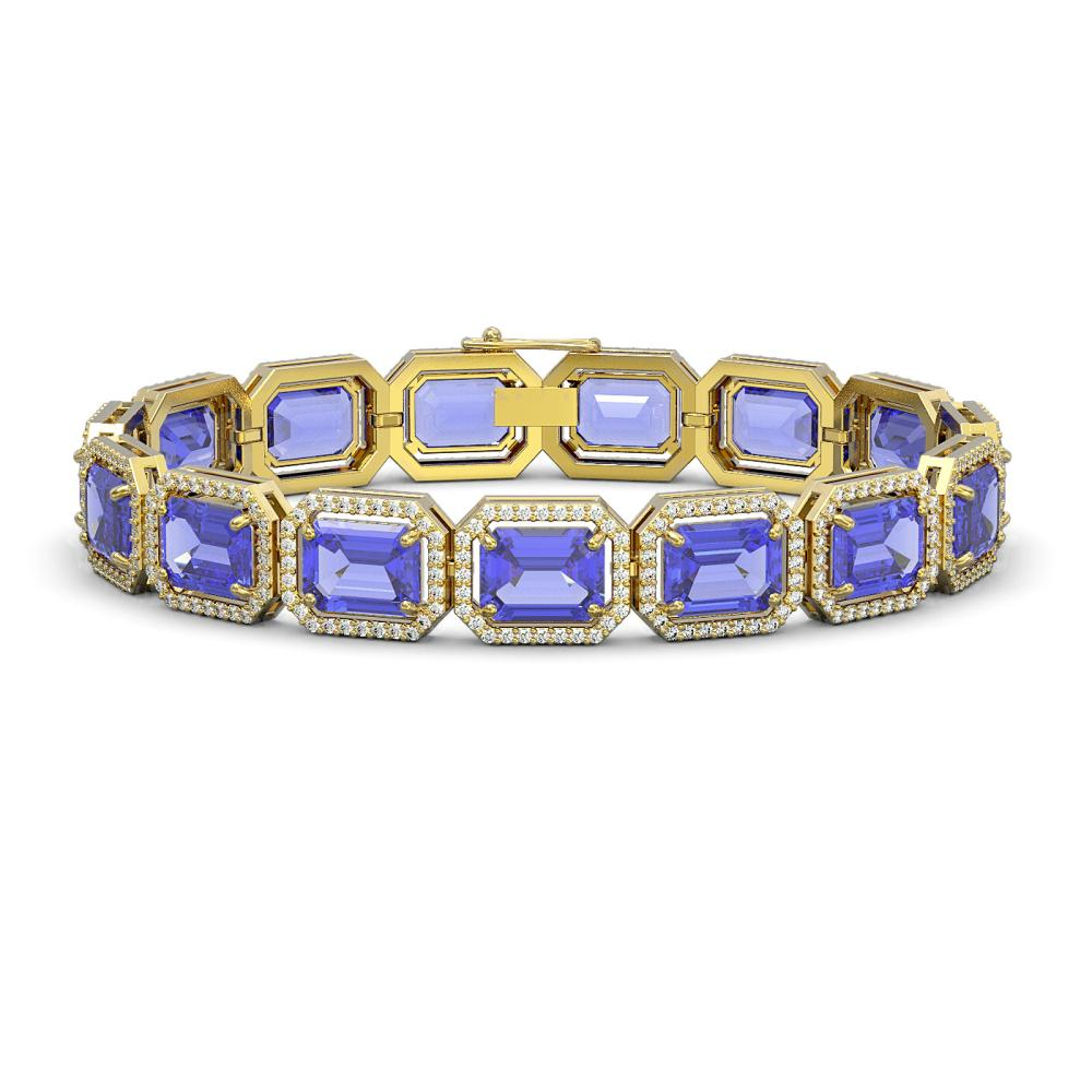 36.37 ctw Tanzanite & Diamond Halo Bracelet 10K Yellow Gold - REF-776Y4X - SKU:41533