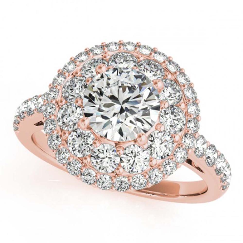2.09 ctw VS/SI Diamond Halo Ring 18K Rose Gold - REF-333M2F - SKU:26495