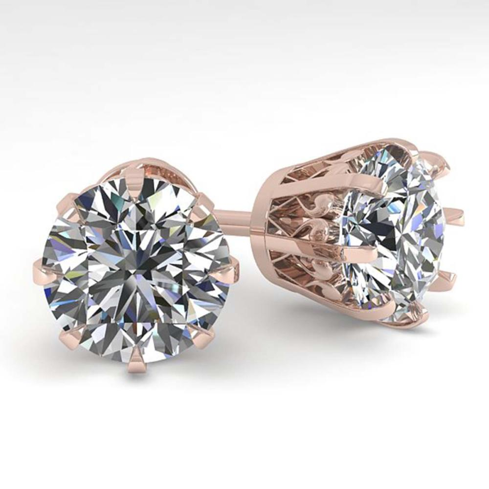 4 ctw VS/SI Diamond Stud Solitaire Earrings 18K Rose Gold - REF-2130A2V - SKU:35705