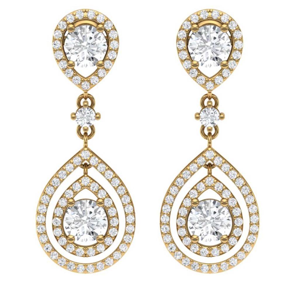 3.53 ctw VS/SI Diamond Earrings 18K Yellow Gold - REF-418F2N - SKU:39110