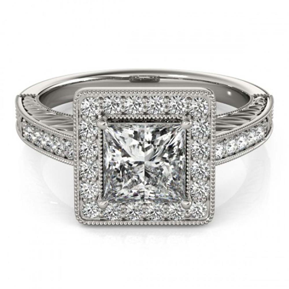 1.60 ctw VS/SI Princess Diamond Halo Ring 18K White Gold - REF-428K2W - SKU:27120