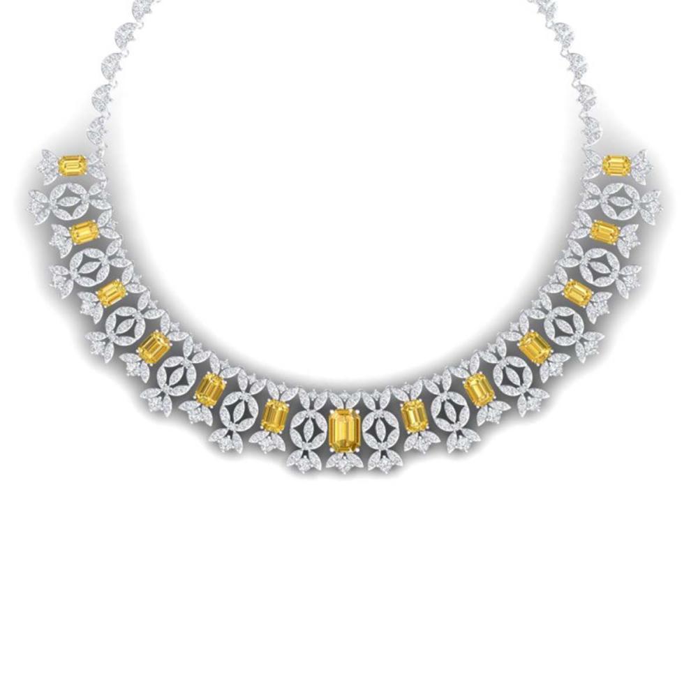 46.38 ctw Canary Citrine & VS Diamond Necklace 18K White Gold - REF-1563N6A - SKU:39387
