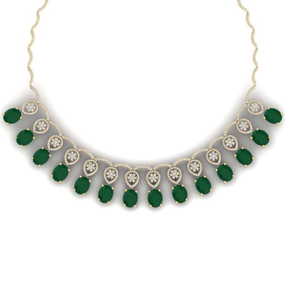 54.05 ctw Emerald & VS Diamond Necklace 18K Yellow Gold - REF-1145N5A - SKU:39062