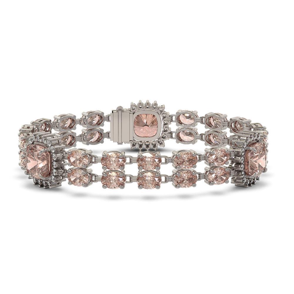 36.8 ctw Morganite & Diamond Bracelet 14K White Gold - REF-641K8W - SKU:44864