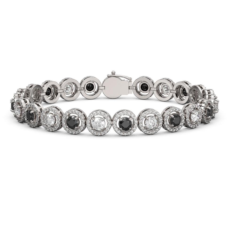 10.39 ctw Black & Diamond Bracelet 18K White Gold - REF-635K6W - SKU:43004