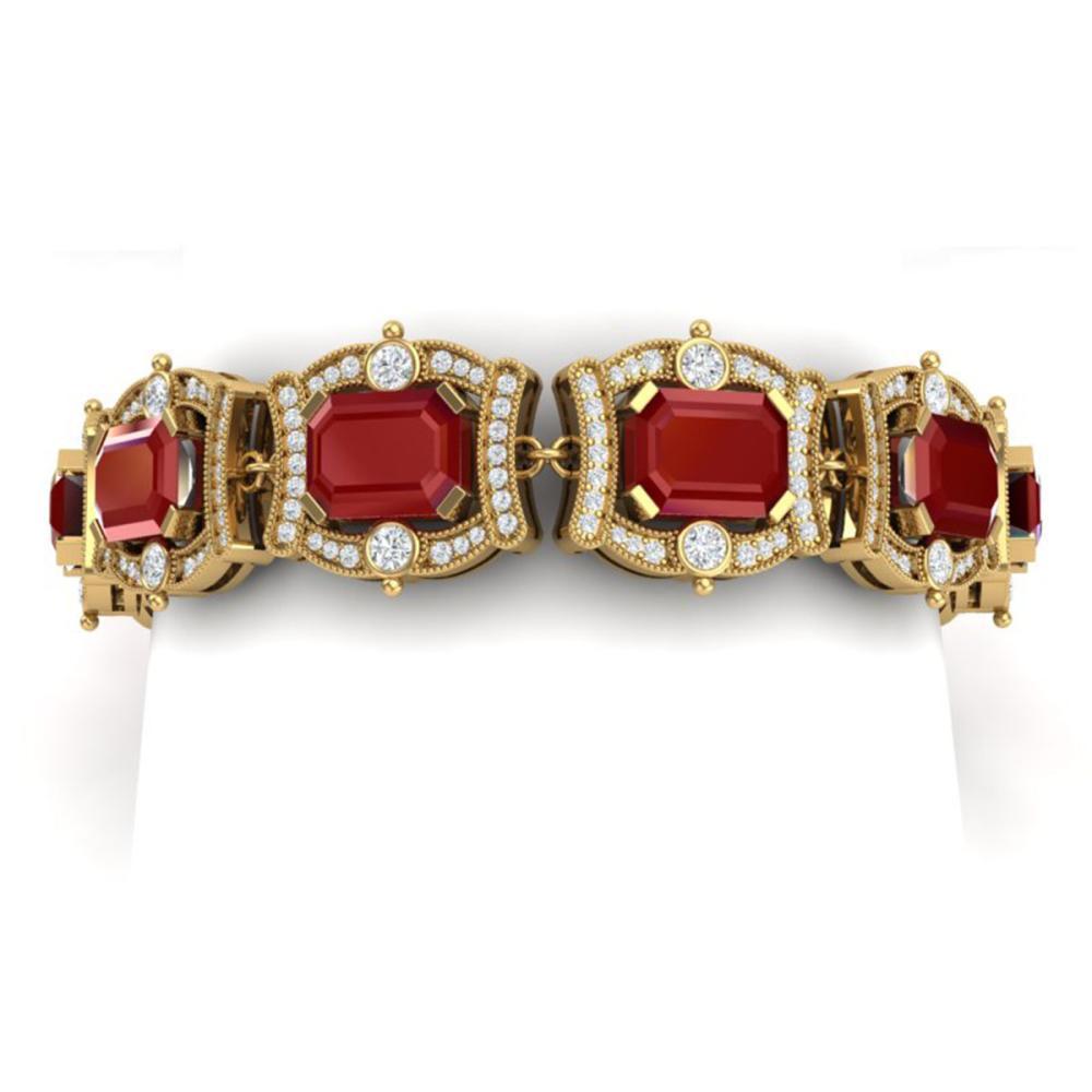 43.87 ctw Ruby & VS Diamond Bracelet 18K Yellow Gold - REF-836A4V - SKU:38780