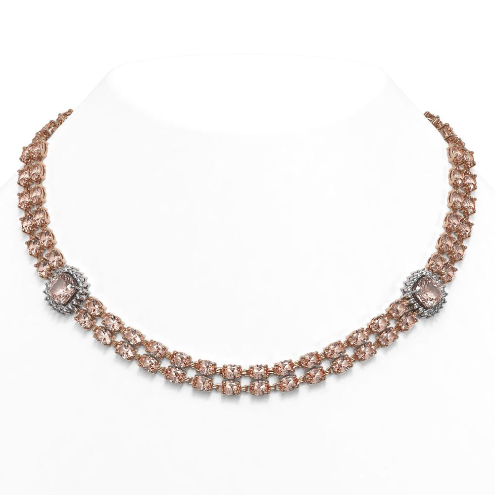 66.8 ctw Morganite & Diamond Necklace 14K Rose Gold - REF-998K5W - SKU:44808