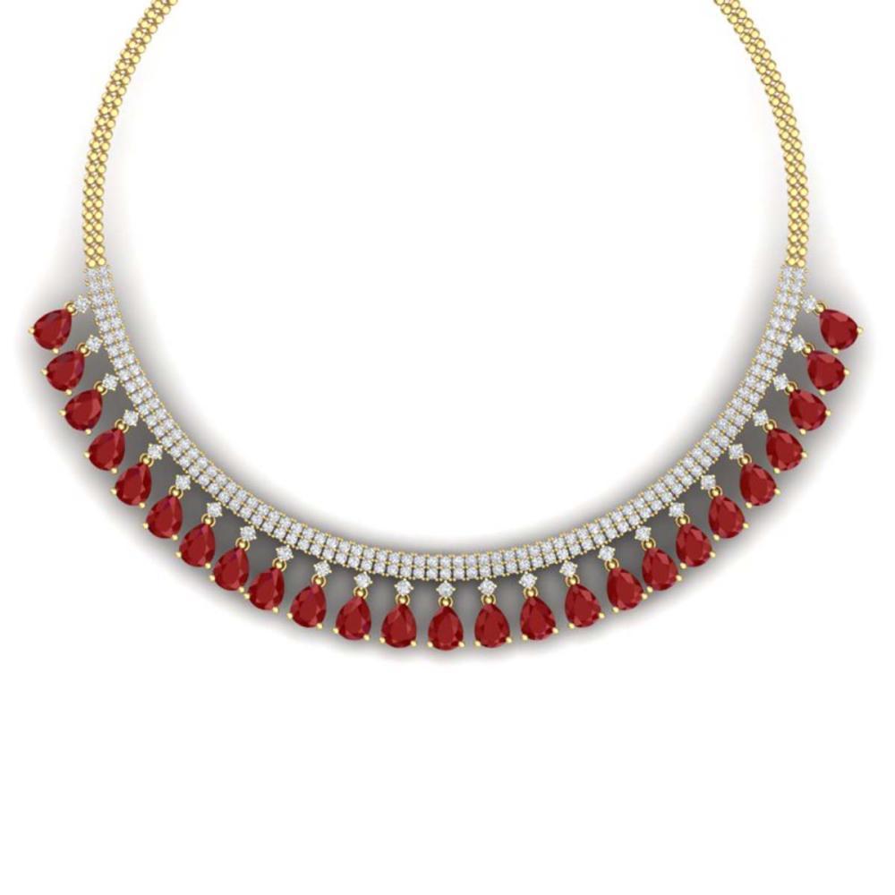 51.75 ctw Ruby & VS Diamond Necklace 18K Yellow Gold - REF-1072M7F - SKU:38876