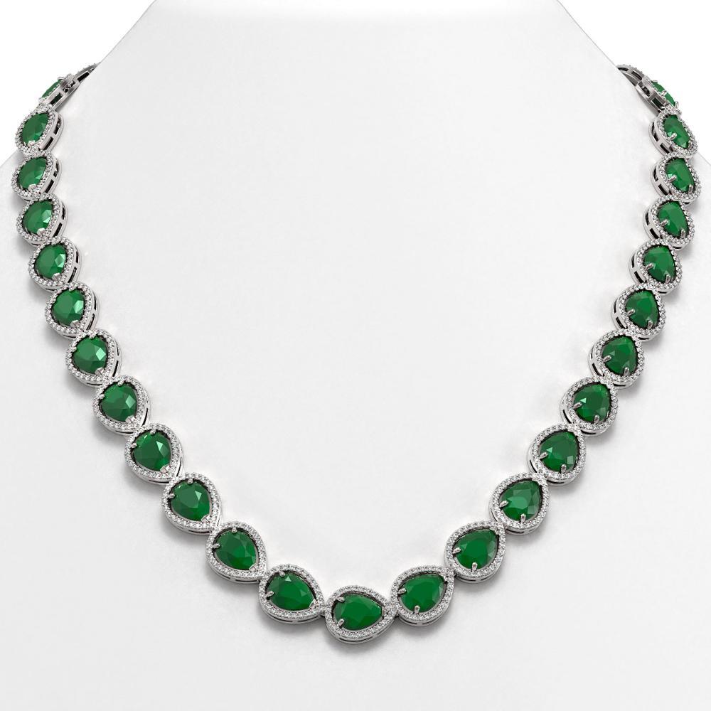 64.01 ctw Emerald & Diamond Halo Necklace 10K White Gold - REF-854X5R - SKU:41186