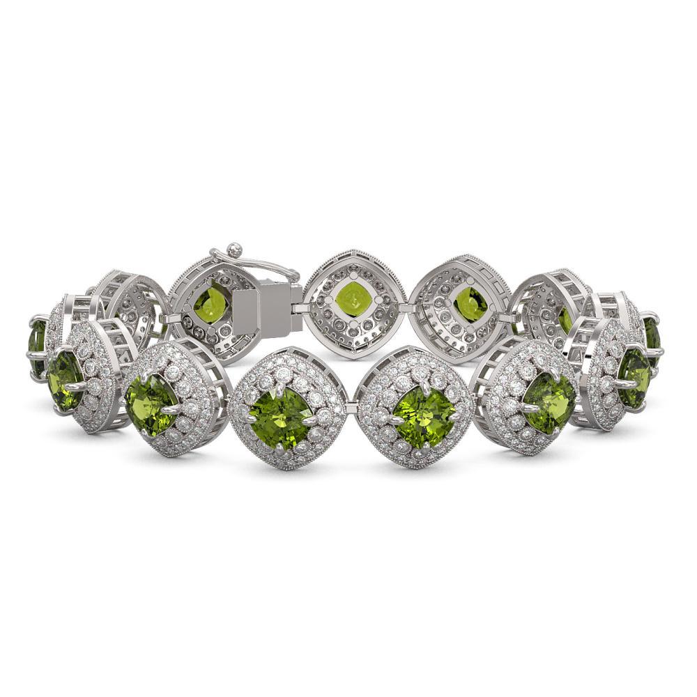 33.05 ctw Tourmaline & Diamond Bracelet 14K White Gold - REF-982F7N - SKU:44162