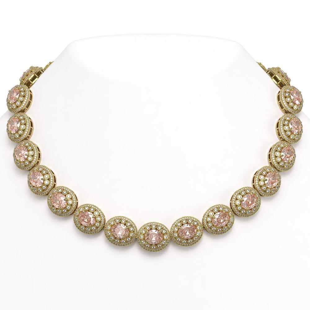 93.04 ctw Morganite & Diamond Necklace 14K Yellow Gold - REF-3788Y9X - SKU:43708