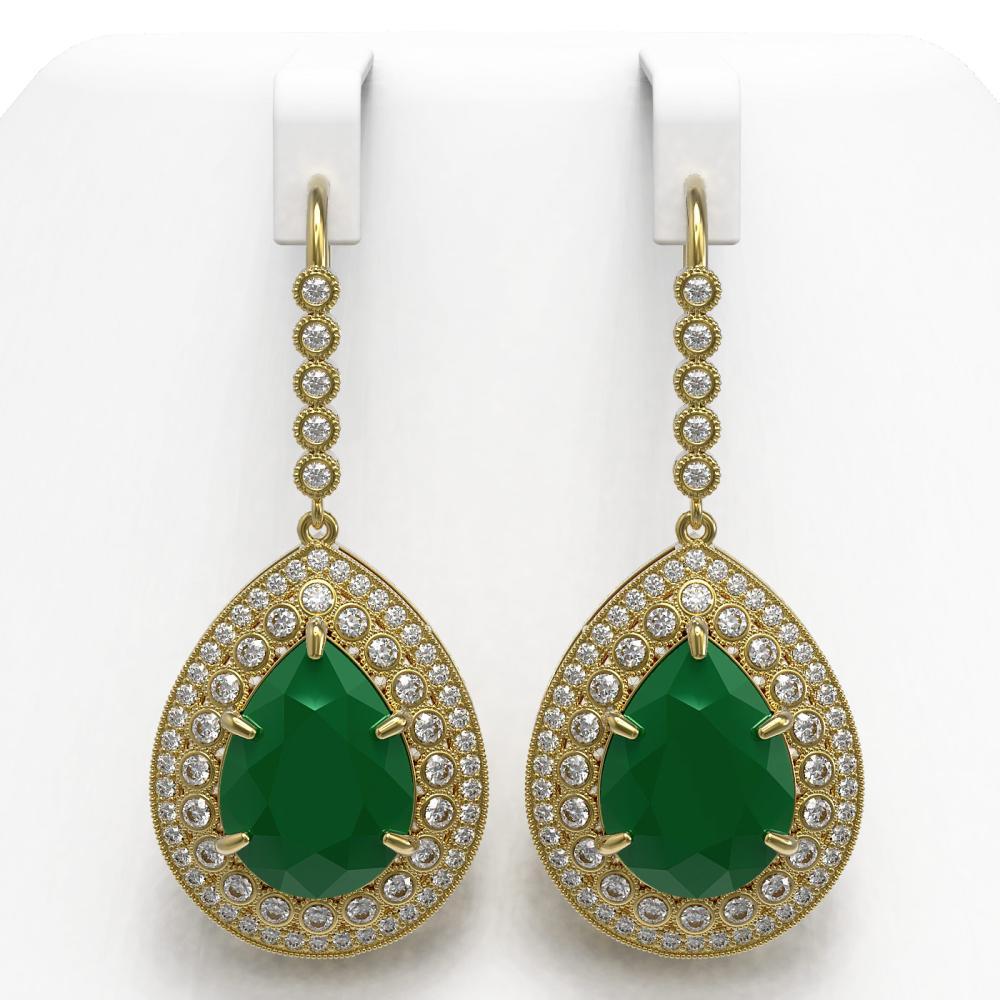 31.74 ctw Emerald & Diamond Earrings 14K Yellow Gold - REF-694X5R - SKU:43300