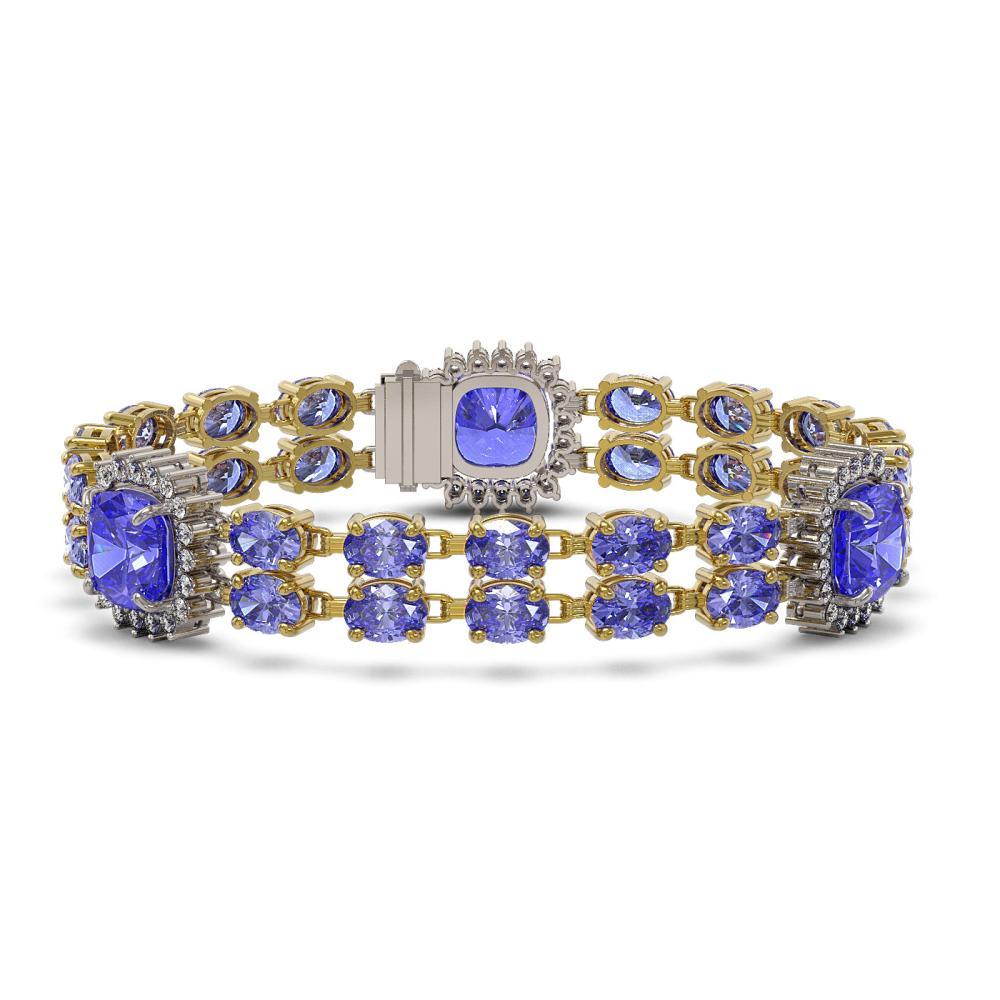 39.4 ctw Tanzanite & Diamond Bracelet 14K Yellow Gold - REF-653K3W - SKU:44863