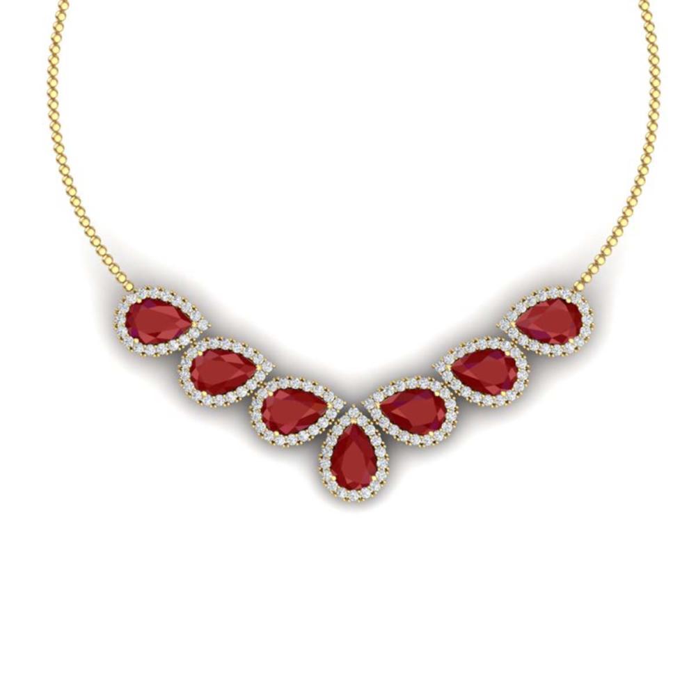 34.72 ctw Ruby & VS Diamond Necklace 18K Yellow Gold - REF-690F9N - SKU:38831