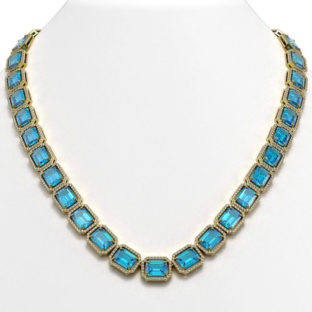 79.01 ctw Swiss Topaz & Diamond Halo Necklace 10K Yellow Gold - REF-836H4M - SKU:41509