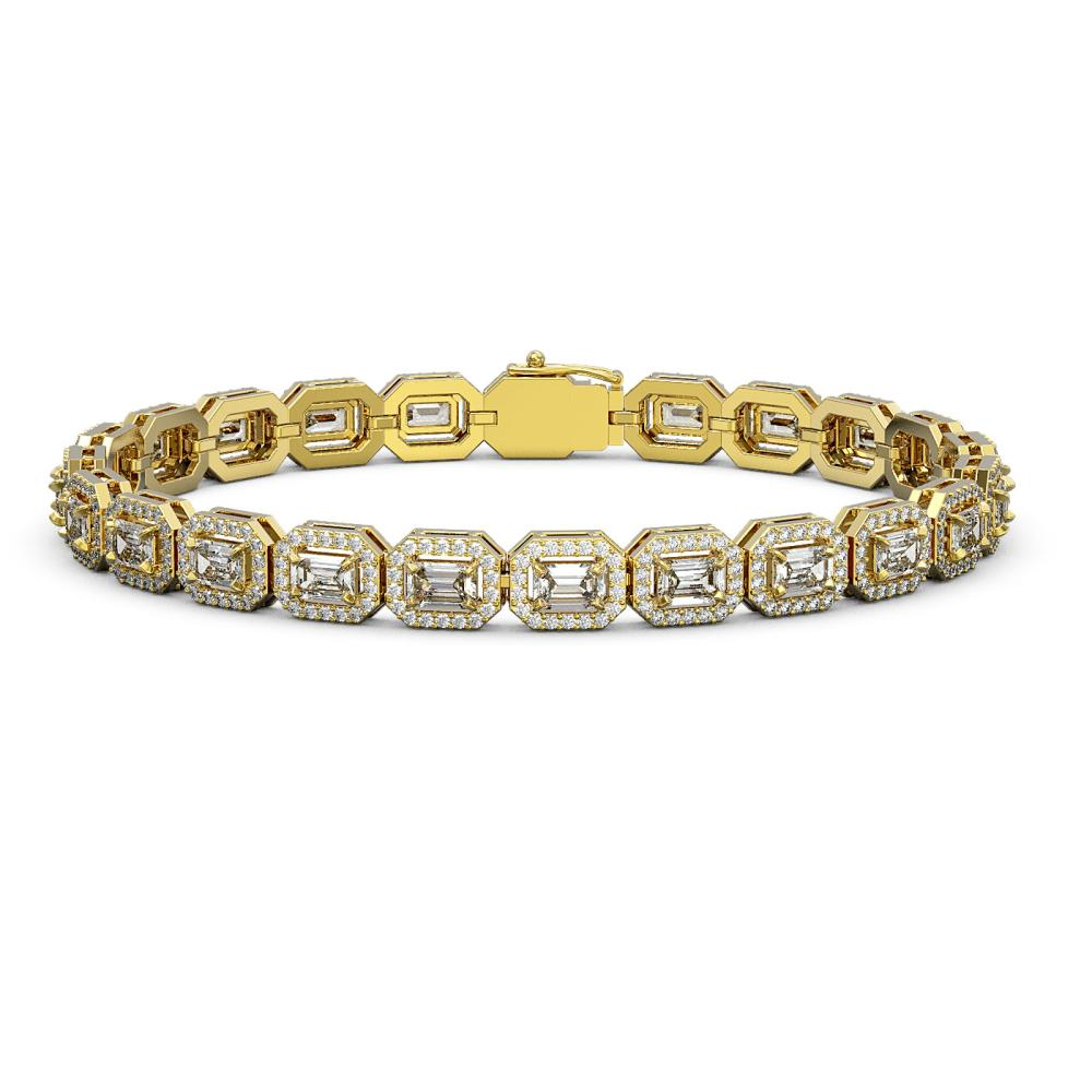 10.39 ctw Emerald Diamond Bracelet 18K Yellow Gold - REF-1222A3V - SKU:43060