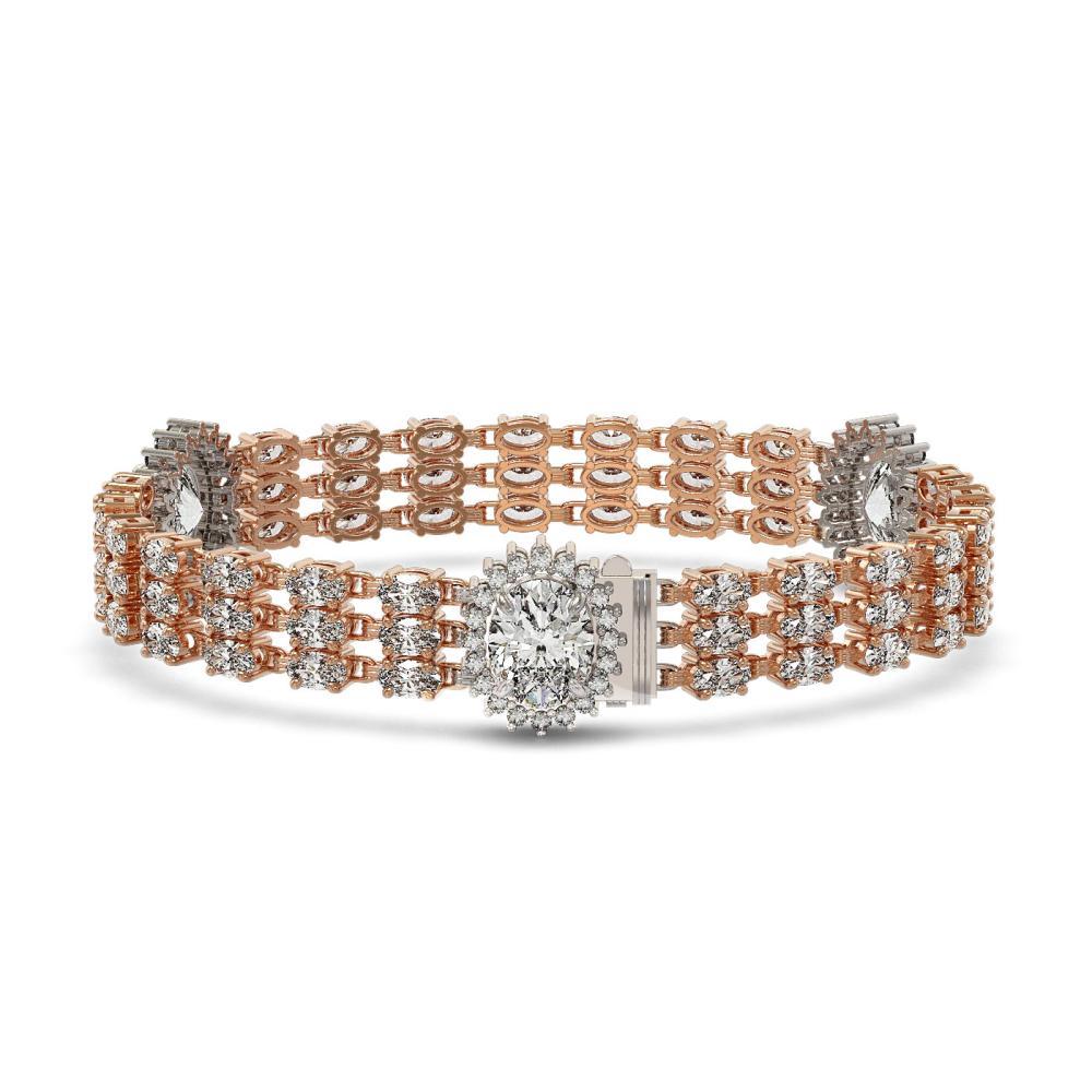 23.74 ctw Oval Diamond Bracelet 18K Rose Gold - REF-5304N7A - SKU:46222