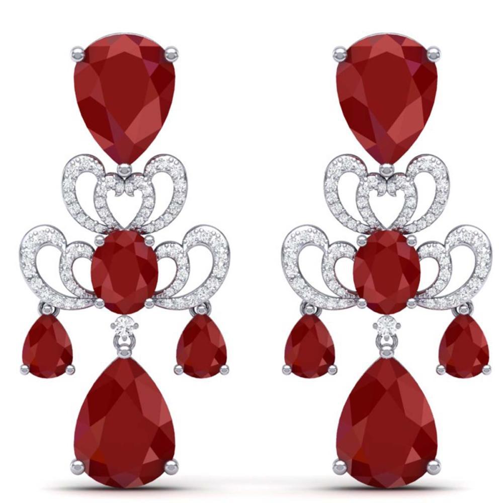 58.73 ctw Ruby & VS Diamond Earrings 18K White Gold - REF-636V4Y - SKU:38673