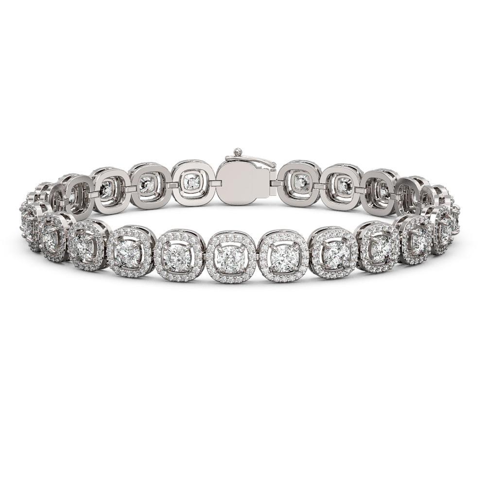 10.39 ctw Cushion Diamond Bracelet 18K White Gold - REF-878A7V - SKU:43022