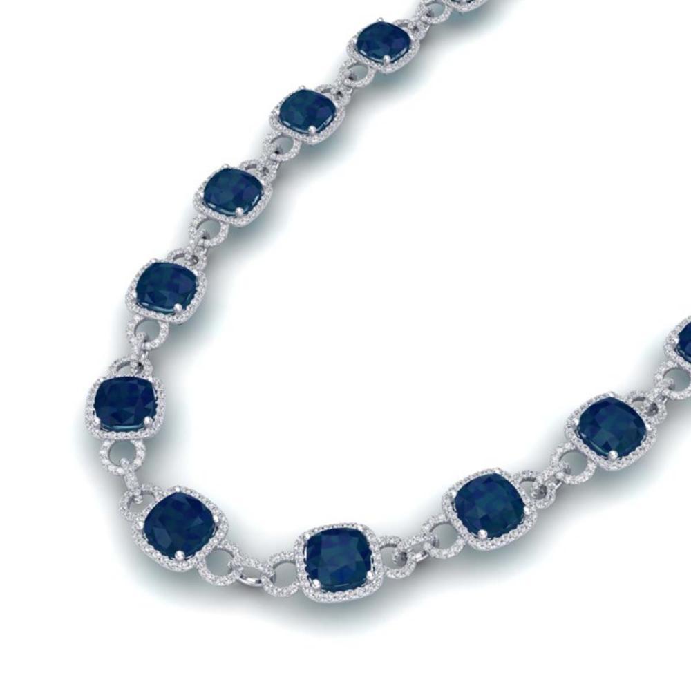 56 ctw Sapphire & VS/SI Diamond Necklace 14K White Gold - REF-960V2Y - SKU:23050