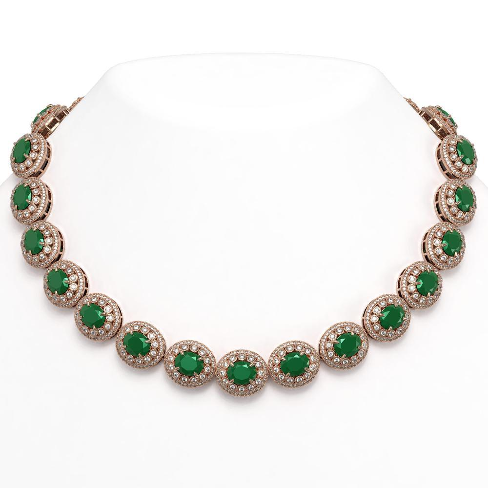 111.75 ctw Emerald & Diamond Necklace 14K Rose Gold - REF-3094H9M - SKU:43683