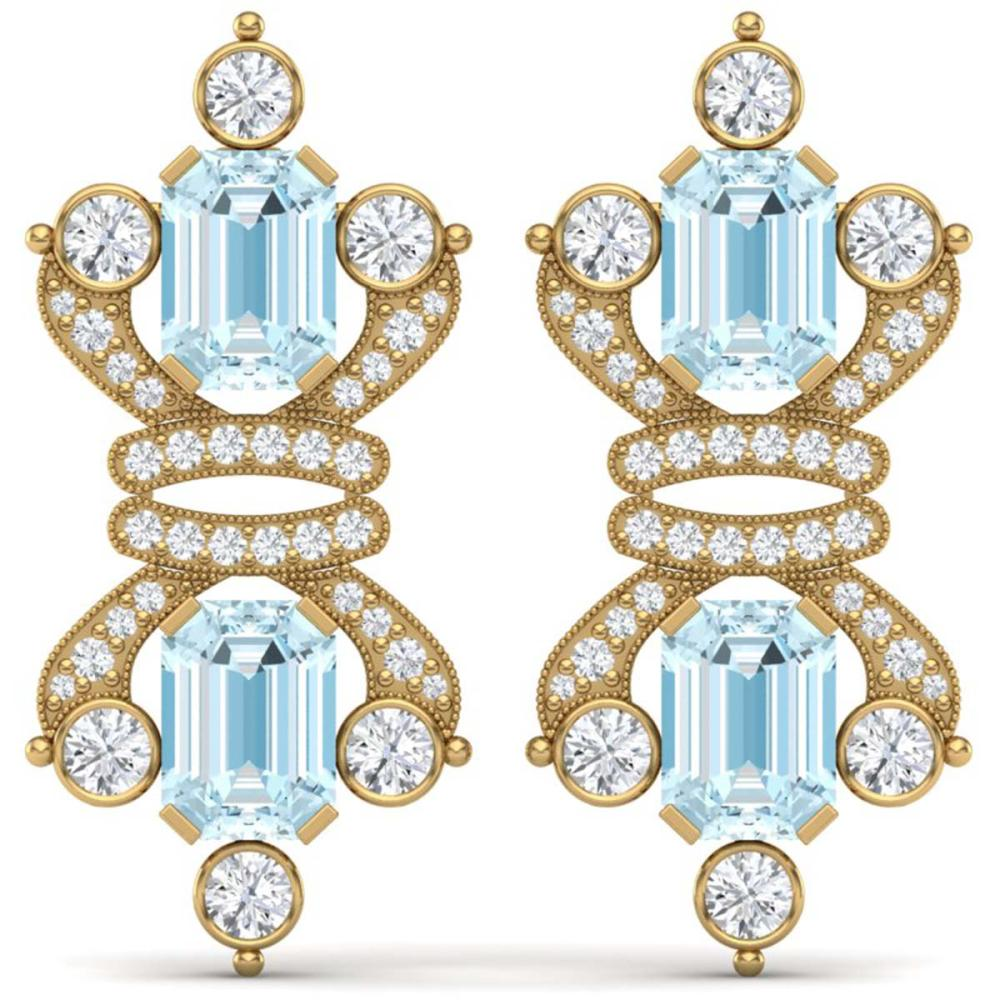 28.39 ctw Sky Topaz & VS Diamond Earrings 18K Yellow Gold - REF-490Y9X - SKU:38771