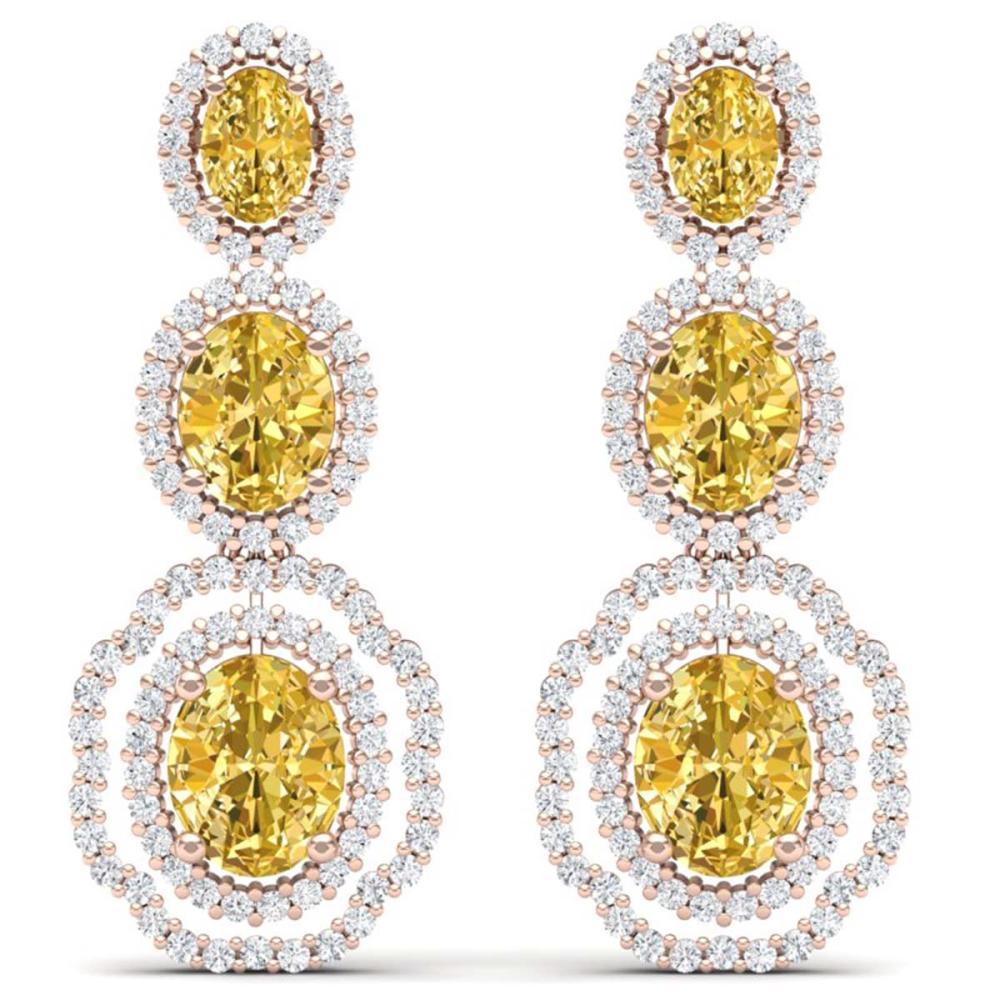 15.65 ctw Canary Citrine & VS Diamond Earrings 18K Rose Gold - REF-290X9R - SKU:39217