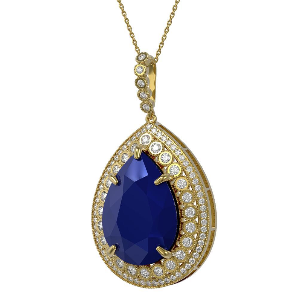 42.84 ctw Sapphire & Diamond Necklace 14K Yellow Gold - REF-581F5N - SKU:43357