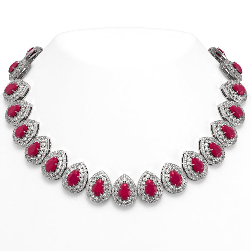 121.42 ctw Ruby & Diamond Necklace 14K White Gold - REF-3416H5M - SKU:43229