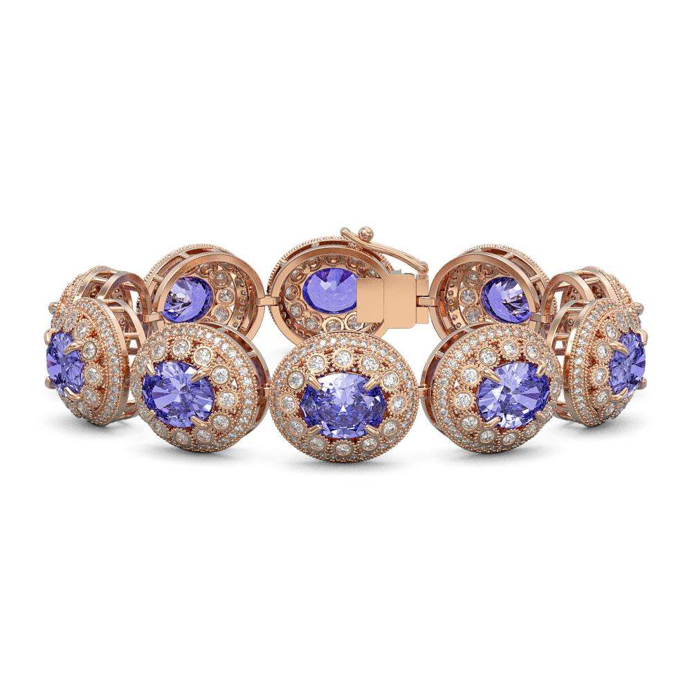 50.27 ctw Tanzanite & Diamond Bracelet 14K Rose Gold - REF-1704F4N - SKU:43719