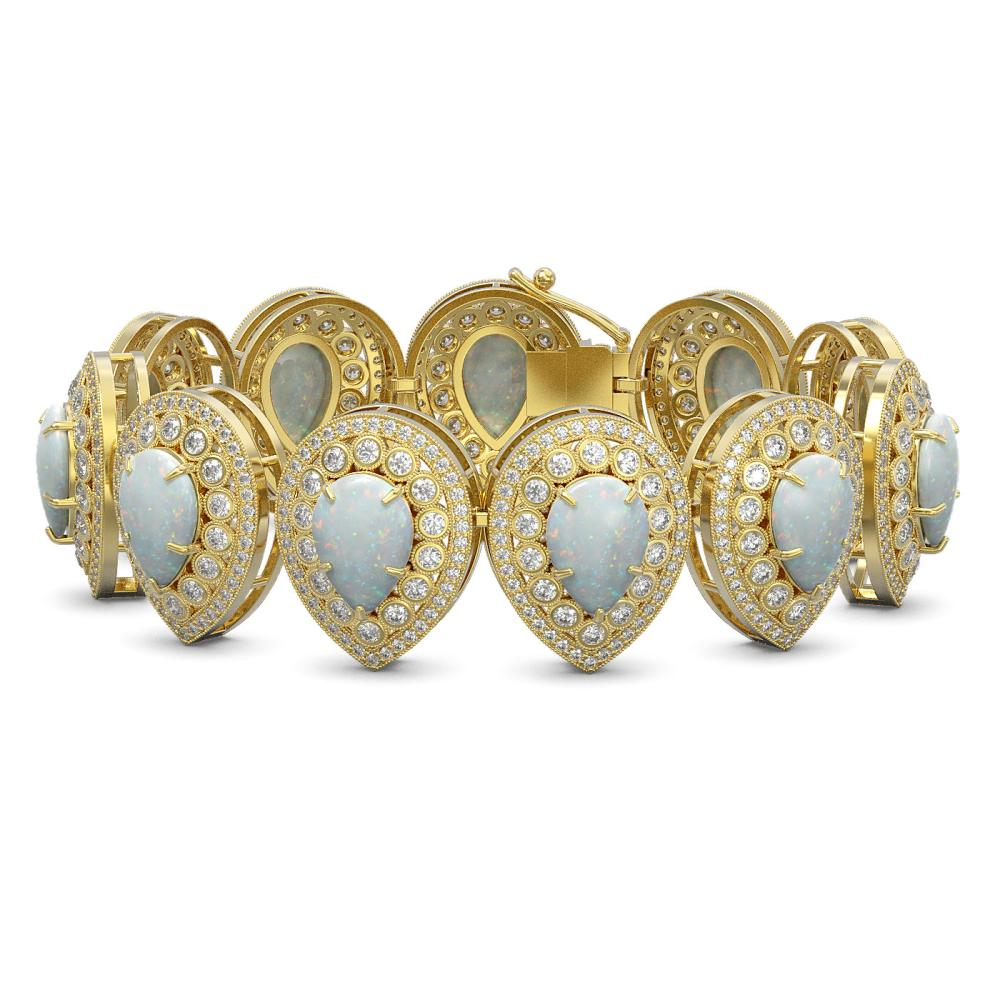 46.44 ctw Opal & Diamond Bracelet 14K Yellow Gold - REF-1468W4H - SKU:43273