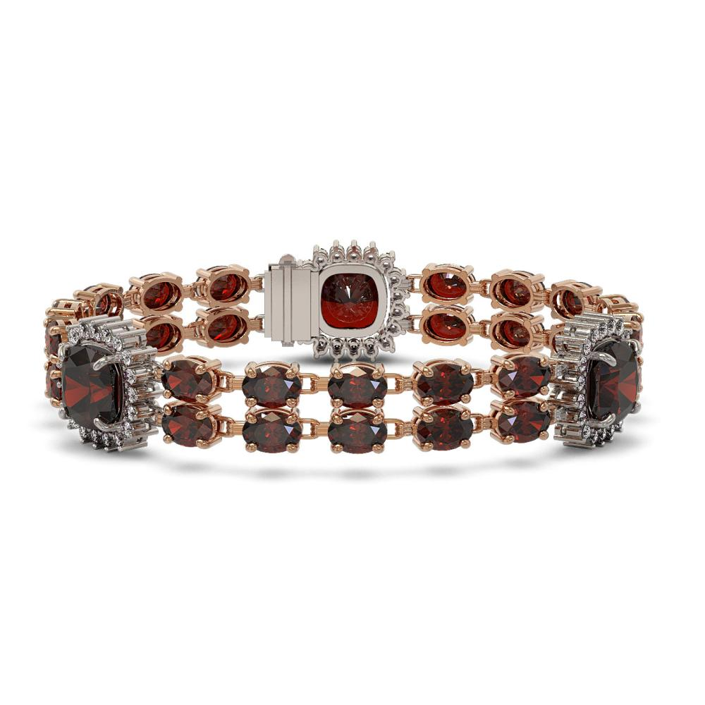 39.63 ctw Garnet & Diamond Bracelet 14K Rose Gold - REF-286M7F - SKU:44898