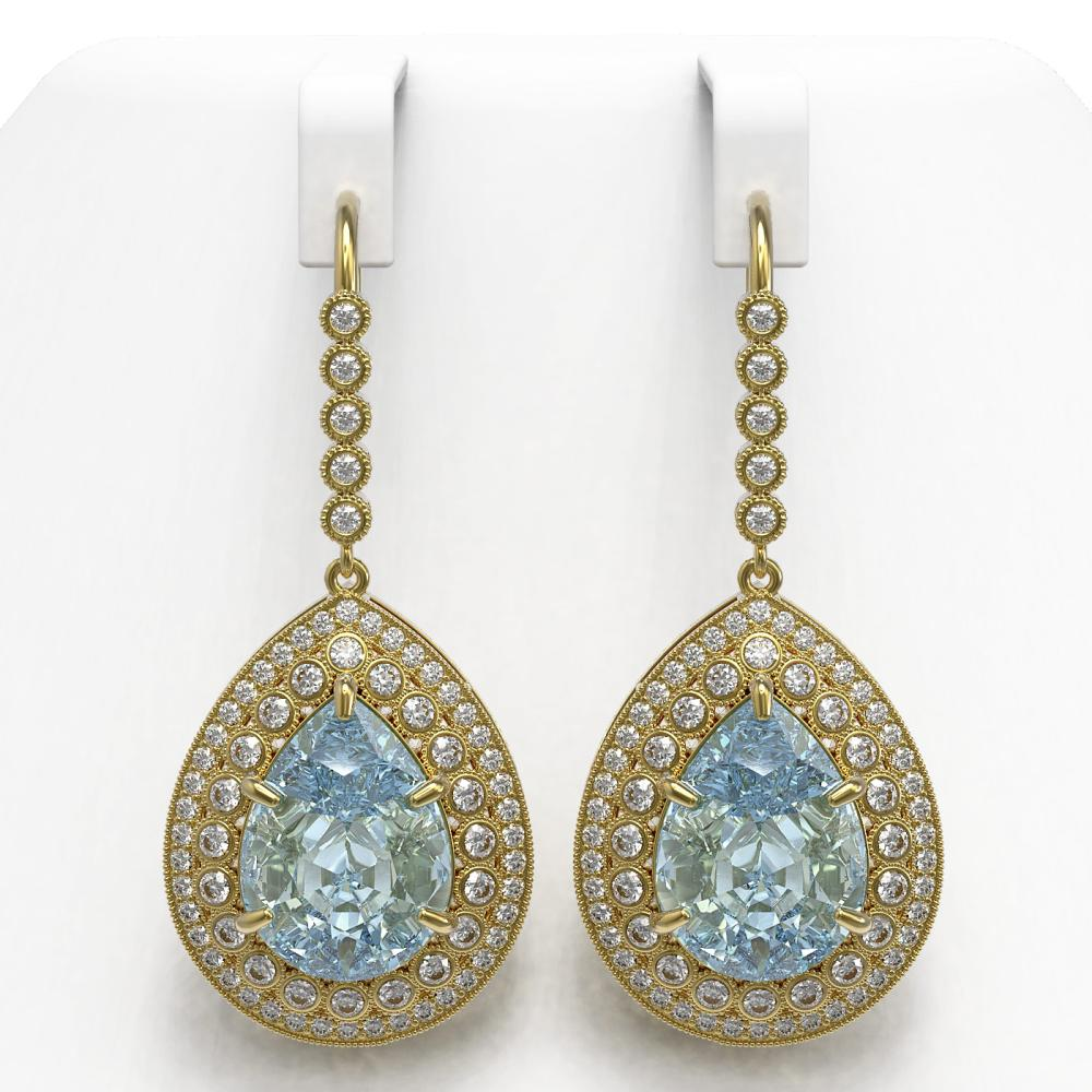 35.24 ctw Sky Topaz & Diamond Earrings 14K Yellow Gold - REF-448A9V - SKU:43309