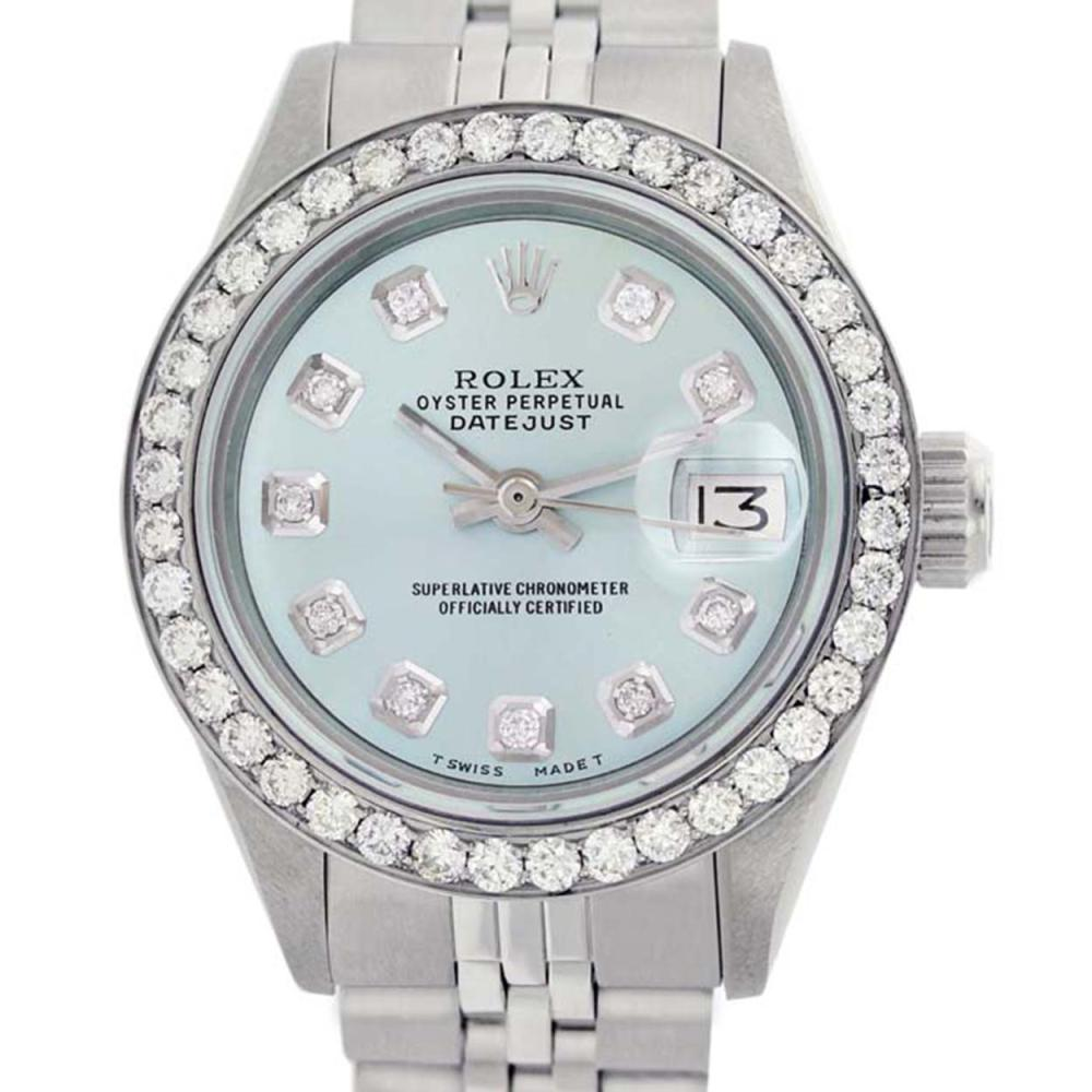 Rolex Ladies Stainless Steel, Diamond Dial & Diamond Bezel, Sapphire Crystal - REF-426F4M