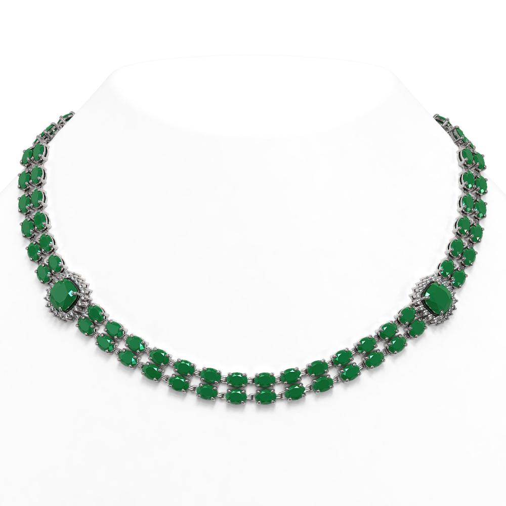 72.85 ctw Emerald & Diamond Necklace 14K White Gold - REF-644A7V - SKU:44795