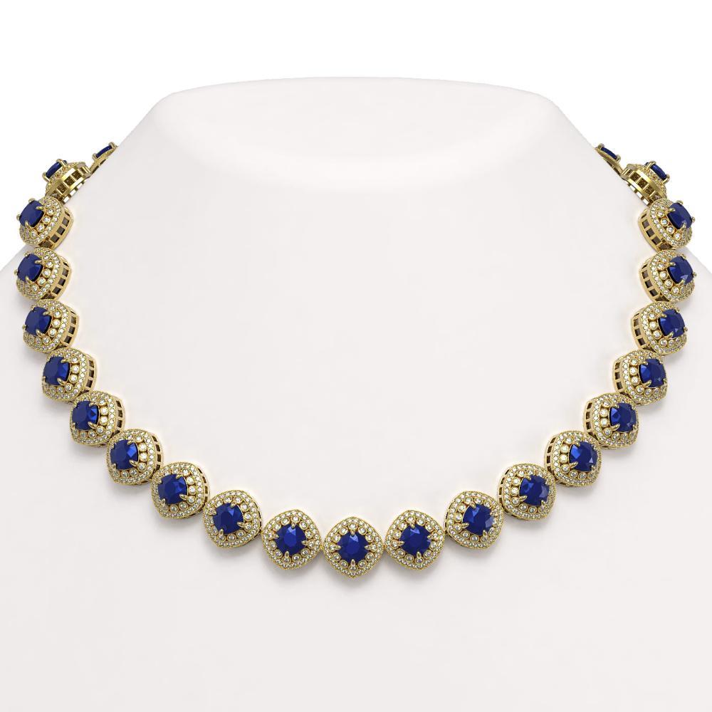 82.17 ctw Sapphire & Diamond Necklace 14K Yellow Gold - REF-1926W9H - SKU:44104
