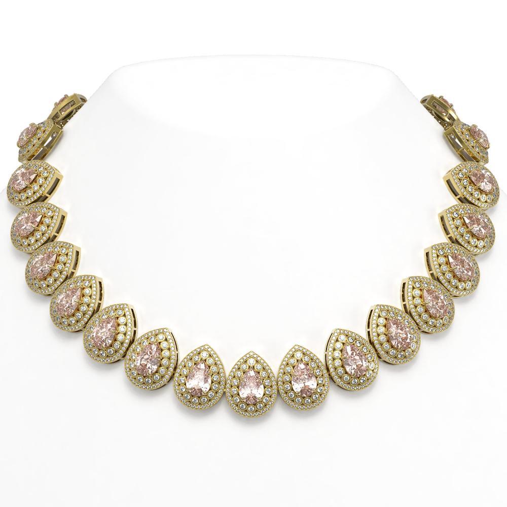 103.22 ctw Morganite & Diamond Necklace 14K Yellow Gold - REF-4551N3A - SKU:43252