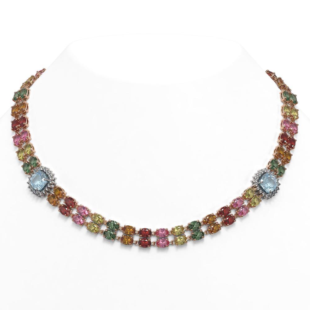 72.67 ctw Sapphire & Diamond Necklace 14K Rose Gold - REF-718F4N - SKU:44844