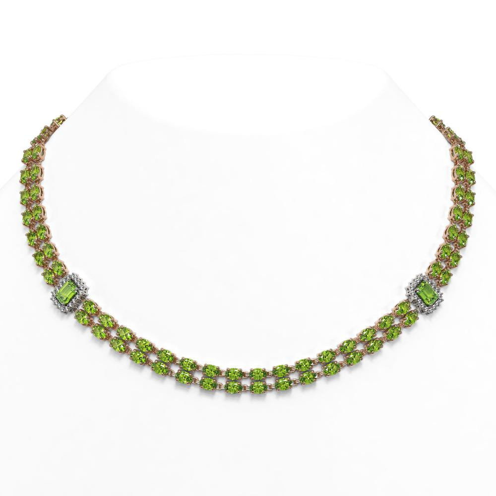 56.5 ctw Peridot & Diamond Necklace 14K Rose Gold - REF-550X2R - SKU:45108