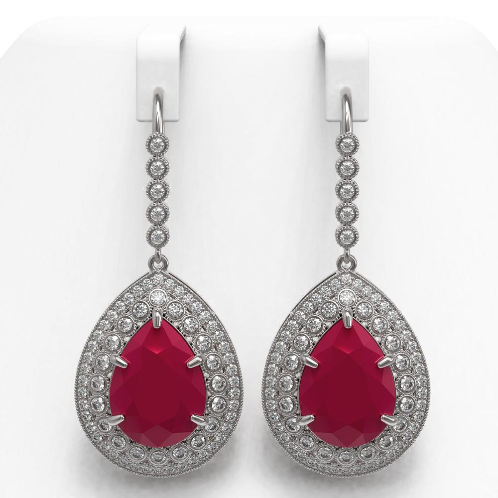 31.74 ctw Ruby & Diamond Earrings 14K White Gold - REF-646X4R - SKU:43301