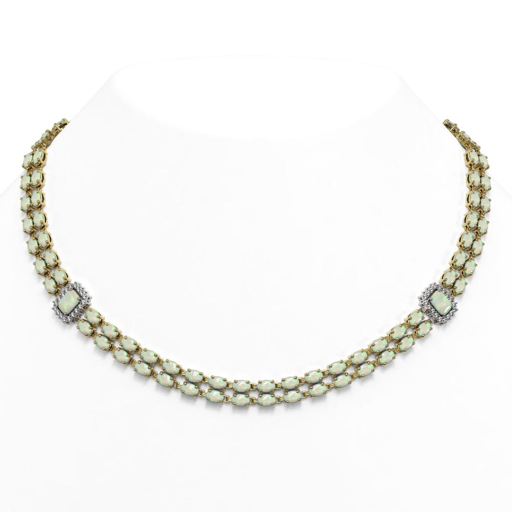 35.28 ctw Opal & Diamond Necklace 14K Yellow Gold - REF-544M2F - SKU:45097
