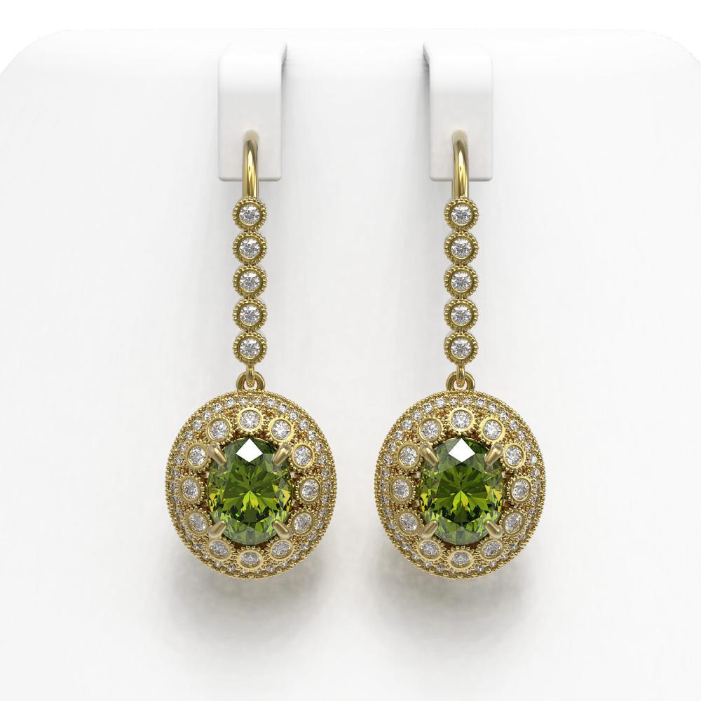 8.45 ctw Tourmaline & Diamond Earrings 14K Yellow Gold - REF-250Y7X - SKU:43624