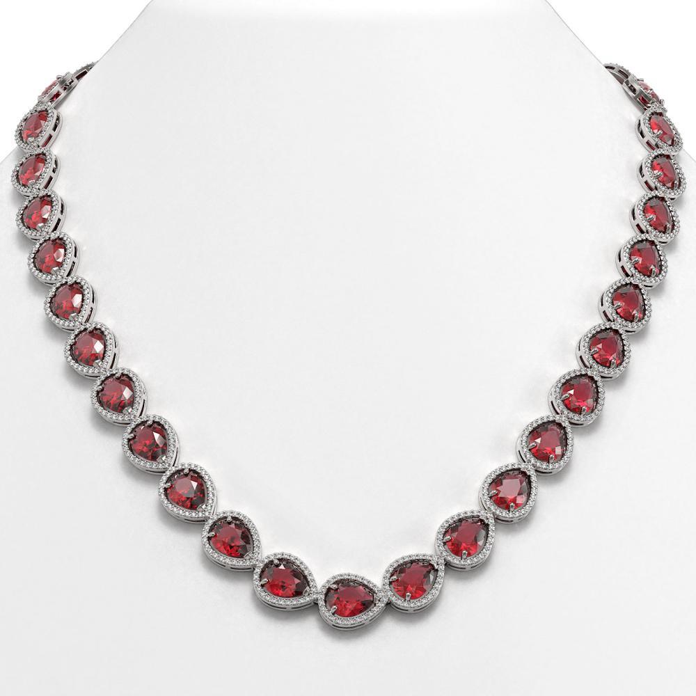 41.6 ctw Tourmaline & Diamond Halo Necklace 10K White Gold - REF-1072M7F - SKU:41204