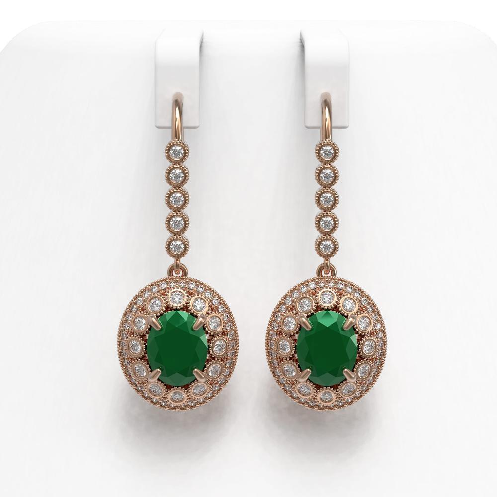 9.25 ctw Emerald & Diamond Earrings 14K Rose Gold - REF-256R2K - SKU:43602