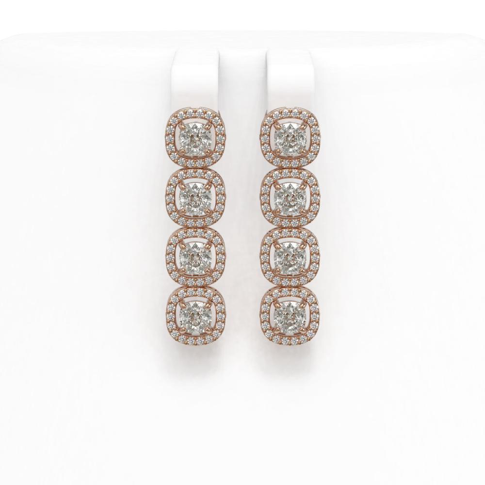4.52 ctw Cushion Diamond Earrings 18K Rose Gold - REF-384Y5X - SKU:43026